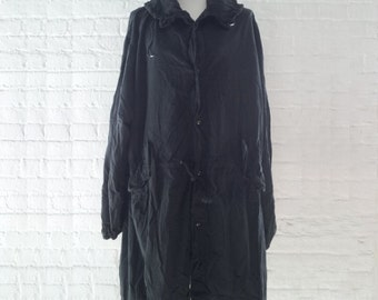 Fishtail Parka 80s XL Vintage Black Cotton Anorak Oversized XXL Hoodie Mod Punk Ska Mackintosh Goth Industrial Military Parka Club Kid Coat