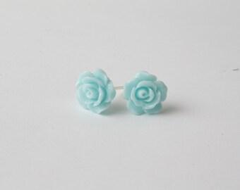 Blue Rose  Earrings - Stud Earrings - Blue flower earrings -  bridal party gift - Rose studs earrings - something blue - gift