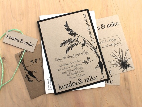 Wedding Invitations Recycled Paper: Items Similar To Recycled Romance