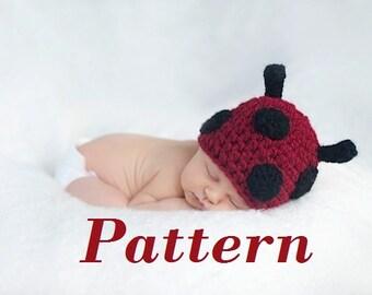 PATTERN ONLY-Baby Ladybug Crochet Hat Pattern-Newborn-Toddler sizes