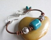 RESERVED for G. -- Handmade wire wrapped copper bangle bracelet turquoise women jewelry