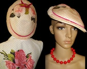 Vintage 1940s Hat Tilt Designer Roses Netting pleated Chiffon Elegant Dress Couture Elegant Swing Jive
