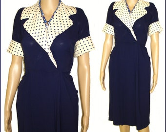 Vintage 1940s Dress . Navy Blue Polka Dots Rockabilly Deco Garden Party Swing Bombshell Pinup Cocktail Career Mad Man