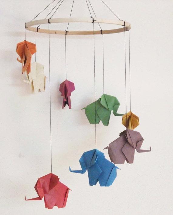 origami l phant mobile mobile l phant baby mobile d cor. Black Bedroom Furniture Sets. Home Design Ideas
