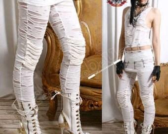 Gothic angel punk raggedy corroded mummy leggings pants