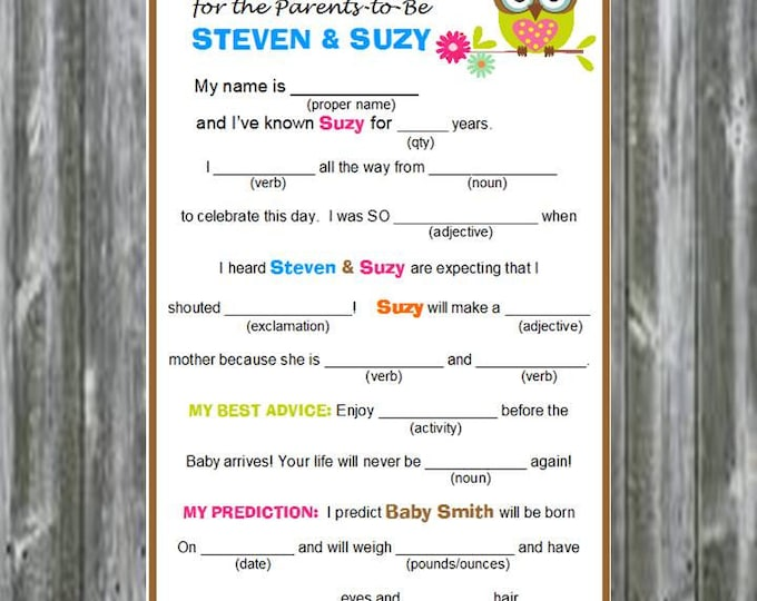 SALE Printable PDF File Owl Baby Shower Baby Libs Advice and Predictions