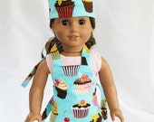 Retro Teal Cupcakes Doll Size Apron and Chef Hat