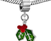 Pugster Silver Plated Green and Red Enamel Christmas Holly and Berries European Dangle Charm (130862)