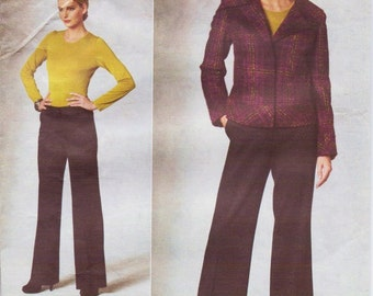 Anne Klein Womens Jacket & Wide Legged Pants OOP Vogue Sewing Pattern V1200 Size 8 10 12 14 Bust 31 1/2 to 36 UnCut Vogue American Designer
