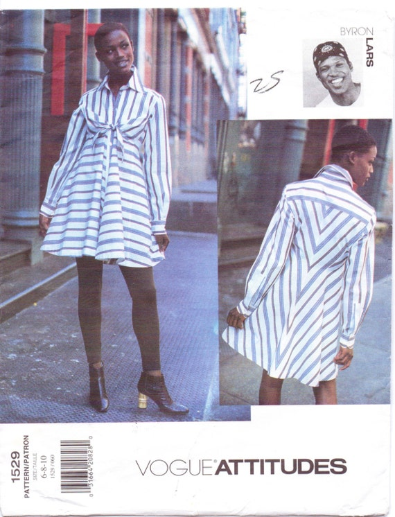 1990s Byron Lars striped shirtdress pattern - Vogue 1529