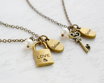 Friendship Key and Lock Necklaces, Best Friend Necklace, BFF, Key and Lock Necklace, Bestie, Soul Mates, Couple Necklace, Key to My Heart