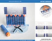 Nerf Favor Labels - INSTANT DOWNLOAD - Printable Birthday Party Decorations - Blue/Orange