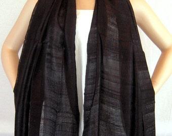 """100 % Thai Raw Pure Silk Scarf Shawl Wrap  24""""x62"""" Large in Black H18"""