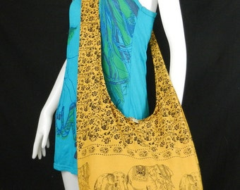 Hippie Hobo Cotton Sling Crossbody Bag Messenger Purse Elephant Floral in Yellow Mustard Large EL1