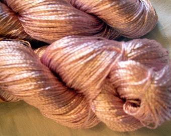 "Viscose Silk Yarn: color light old rose / rose aches, knitting and crochet lace yarn. Yarn ""ajur"" (col. 01)"