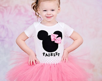 Minnie Mouse Inspired Pink Custom Birthday Onesie or Shirt and Tutu Skirt Set - mini mouse birthday outfit - personalized mini mouse tutu