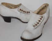 Vintage 1920's Oxford White Leather Heels, Excellent Condition, Womens, Antique, Preppy, Twenties, Flapper