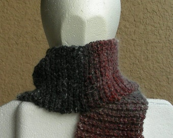Scarf Gray Claret Red Multicolored Noro angora silk wool hand knit.