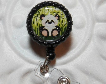 Retractable Badge Holder Bottlecap ID Badge Reel Teacher Lanyard Panda Bear Zoo Animals