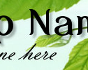 Large Etsy Facebook Cover Photo Ready Made Premade  Green Leaf Eco-Friendly  Flower Banner and Avatar - You Pick One