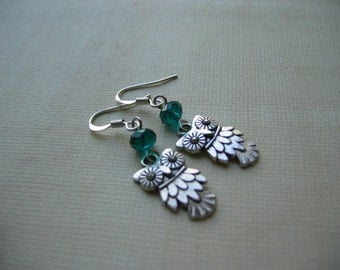 Owl Earrings - Antiqued Silver Owl Charm and Teal Crystal Earrings - Great Owl Gift