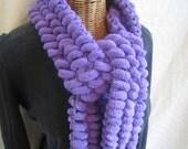 Knit Purple pom pom scarf women girls kids teens microfiber winter fashion accessory