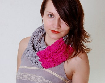 Crochet Pattern PDF - Flash Cowl - Electronic PDF File - Lace Infinity Scarf Cowl Crochet Pattern instant download