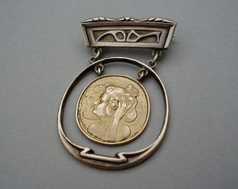Antique German Art Nouveau Jugendstil Theodor Fahrner Patriz Huber Max Joseph Gradl Mathildenhöhe Depose 900 Silver Gold Brooch Pin Brosche