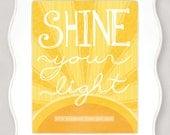 Shine Your Light - Yellow - 8x10 Illustration - NOT FRAMED