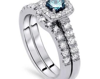 diamant verlobungsring kissen halo set solid 14 kt wei gold. Black Bedroom Furniture Sets. Home Design Ideas