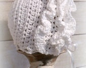 Crochet Pattern for Ruffled Baby Bonnet Hat - 4 sizes, baby to toddler - Welcome to sell finished items