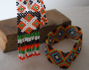 Tribal Beaded Necklace and Bracelet from the Mangyan Tribe of Mindoro - Black, Orange, Green, and White beads