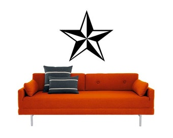 Nautical Star Vinyl Wall  DECAL- graphic, sticker art, room, home and business decor