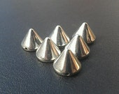 25 Large Silver Spike Beads - 12mm - Great For Studding Clothes and Shoes