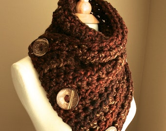 The Original BOSTON HARBOR SCARF Warm, soft & stylish scarf with 3 large coconut buttons in Rustic Redwood | Sale