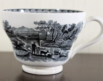 Vintage B & W Wedgewood China Coffee Cup w/Man and Goat Scene (E1025)