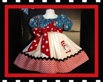 Custom Made Dr. Seuss Cat in the Hat  DRESS Embroidered  Inspired Red chevron Polka dot 24M 2T 3T 4 5 6