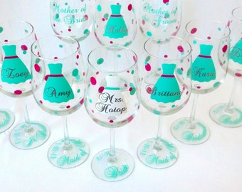 9 bridesmaids glasses, wine glasses with dress, polka dots, name, title and date. Mint and pink. Personalized bridesmaid gift
