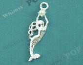 1 - Aquatic Princess Mermaid Pearl Charm, Mermaid Charm, 40mm x 12mm (5-1E)