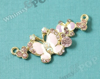 1 - Butterfly Connector Pendant Charm, Alloy Glass Crystal Rhinestone, Rhinestone Butterfly Pendant 20mm x 47mm (4-1B)