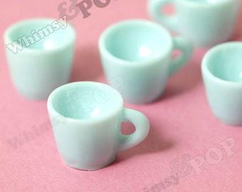 5 - 3D Aqua Blue Coffee Mug Kawaii Foodie Charm Pendant Cabochon, Coffee Cup Charm,  12mm x 18mm (R6-093)