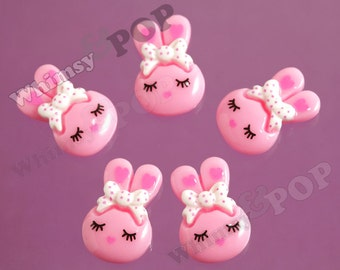 5 - SALE Kawaii Girl Bunny Rabbit Resin Flatback Cabochons, Bunny Rabbit Cabochons, 24mm x 14mm (4-6C)