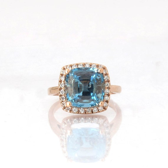 Untreated Santa Maria Color Aquamarine Ring 3.9 By ReneJewelry