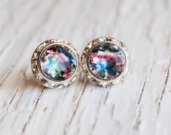Preppy Earrings Vintage Givre Striped Stud Earrings Sugar Sparklers Swarovski Crystal Vintage Glass Striped Diamond Rhinestone Stud Earrings
