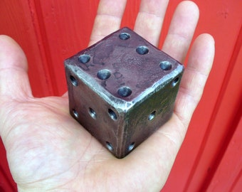 """2""""  FORGED METAL DIE , Hand Forged and Signed by Blacksmith Naz - Huge & Heavy Each Die Weights 2 pounds - A Conversation Striker Everytime"""