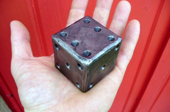 "2""  FORGED METAL DIE , Hand Forged and Signed by Blacksmith Naz - Huge & Heavy Each Die Weights 2 pounds - A Conversation Striker Everytime"