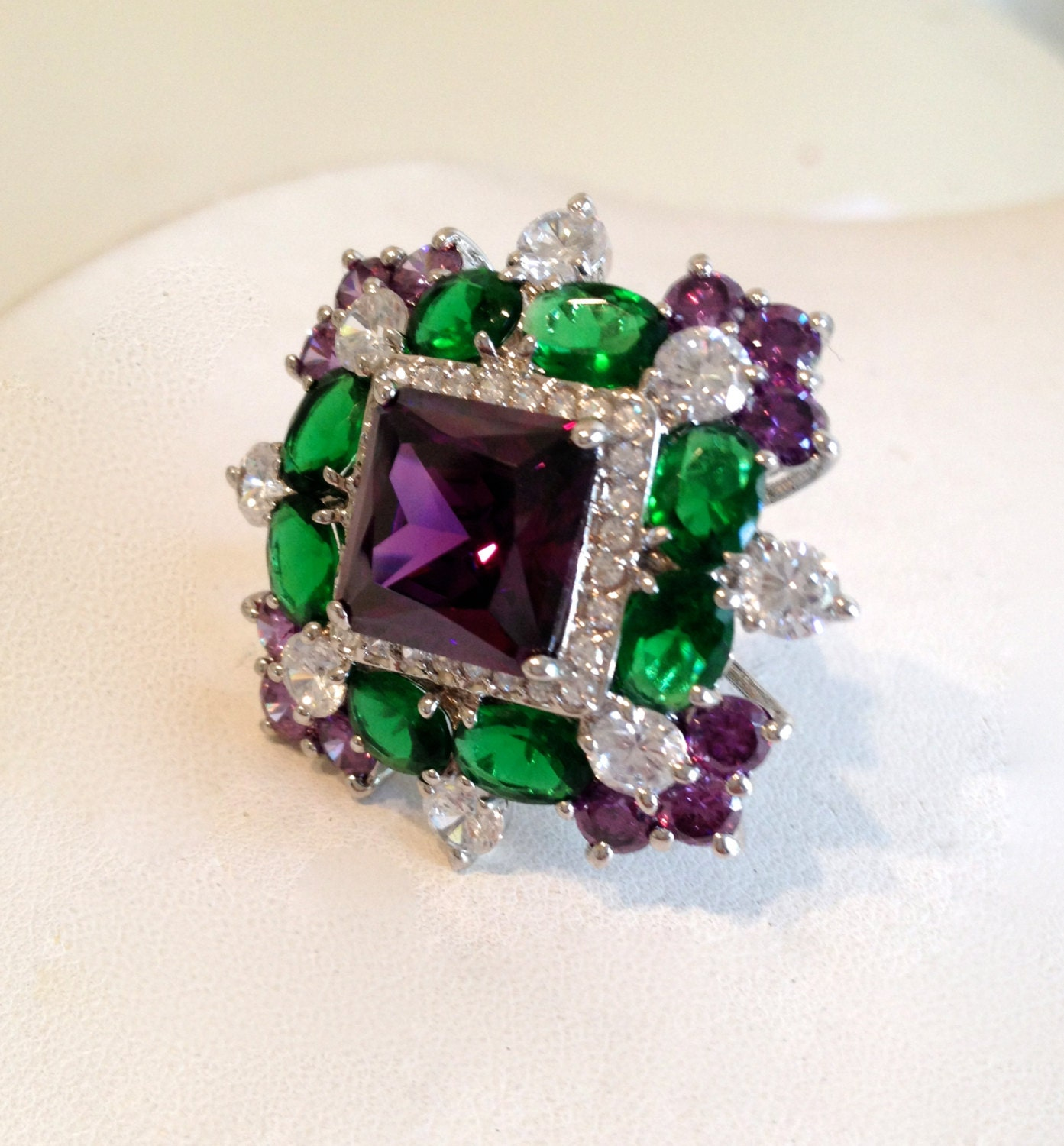 Vintage Emerald Amethyst And Diamond Estate Jewelry Ring