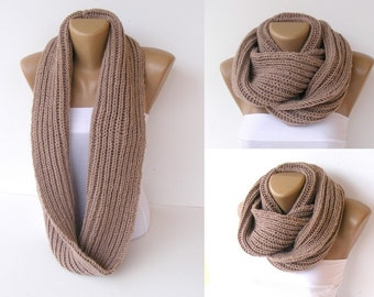 ON SALE // Knitted Scarf  Women Chunky Knit Infinity Scarf Scarves Men Scarf Winter Accessories /  Gifts For Her / senoaccessory