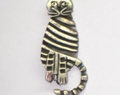 "Sterling Striped Cat Pin / 1 7/8"" / Adorable Vintage Gift / Cat Lover / 925 Sterling / FREE US Shipping"