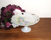 "Artist Signed Pierced Porcelain 7 1/2"" Floral Pedestal Plate / Elegant Dish By Jane Fisher 1970 / Cookies, Candy"